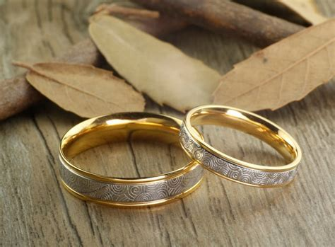 Handmade Gold Wedding Bands, Couple Rings Set, Titanium
