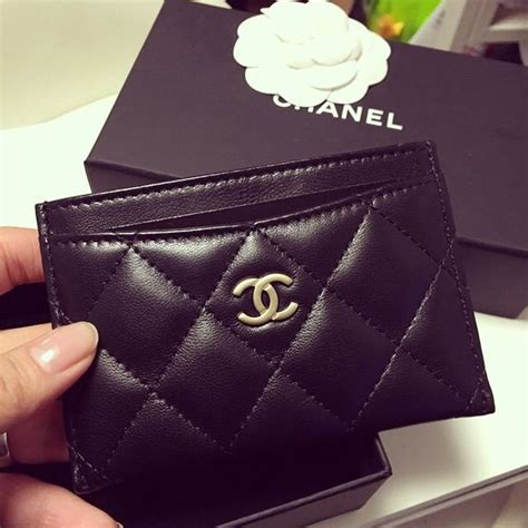 Card Holder Chanel chanel classic card holder black lambskin gold hardware