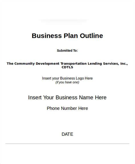 simple business plan template word professional template