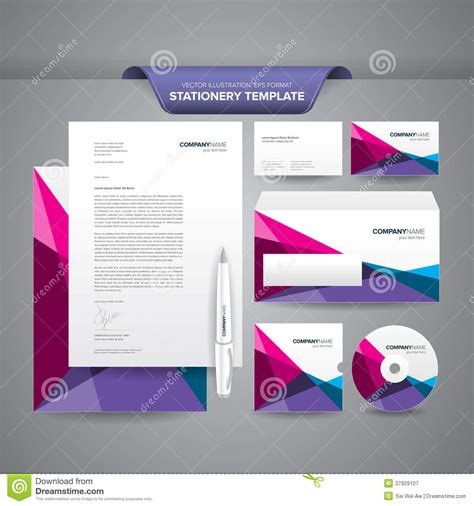 business card and stationery template stationery template polygonal stock vector illustration