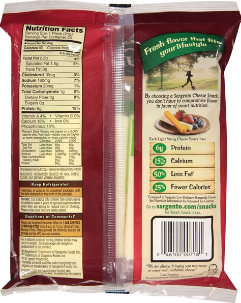 Nutritional Info Sargento Light String Cheese Nutrition Light String Cheese Calories