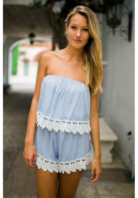 Strapless Lace Playsuit chambray strapless playsuit with lace trim