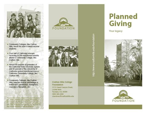 planned giving brochures templates crafton college foundation planned giving brochure
