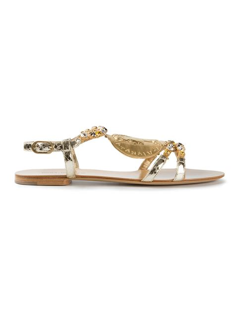 flat embellished sandals lyst dolce gabbana embellished flat sandals in metallic