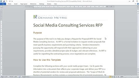 social media rfp template social media consulting rfp template