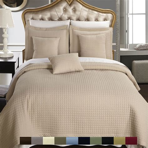 Luxurious Grace 100 Microfiber Bed Luxury Checkered Quilted Wrinkle Free Coverlets Bedspread 100 Microfiber Set Ebay