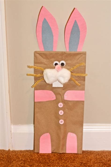 easter bunny paper bag puppet template an easter craft bunny puppet made out of a paper bag