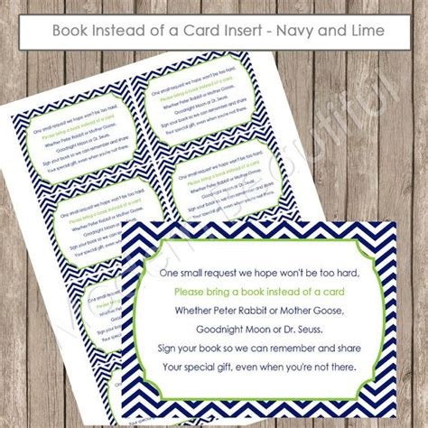 Baby Shower Invitations Books Instead Of Cards by Insert Card Quot Book Instead Of A Card Quot Lime And Navy