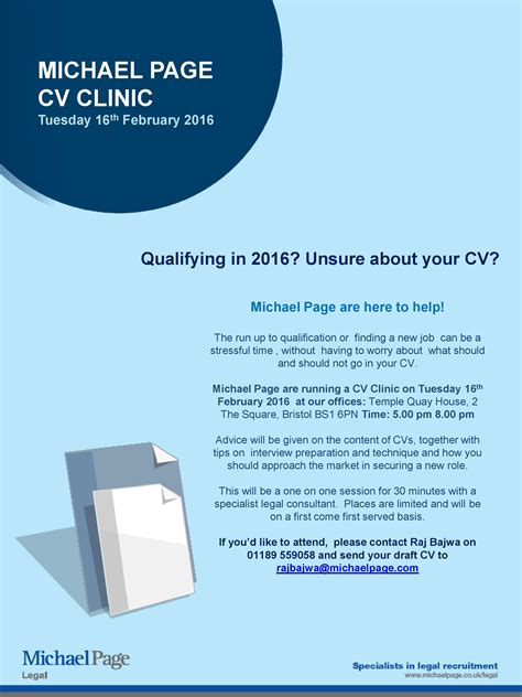 cv clinic with michael page 16th february bristol jld