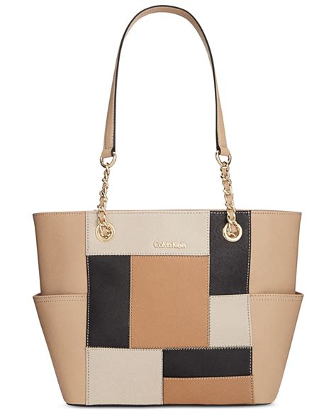 Patchwork Tote - calvin klein patchwork saffiano leather tote in beige