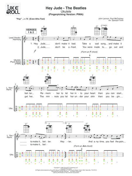 ukulele tutorial hey jude download hey jude ukulele fingerpicking sheet music by