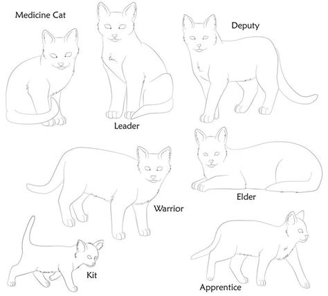 warrior cat bases by dog rose draw this pinterest