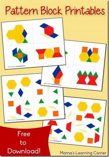 activities with pattern blocks kindergarten free pattern block printables are a great early math