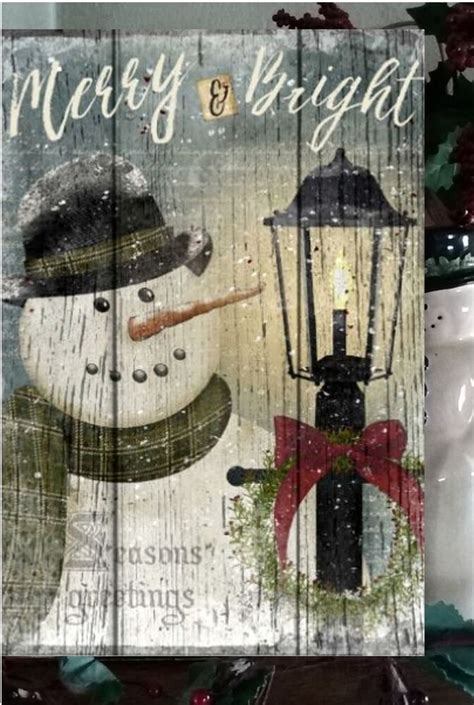 primitive christmas sign merry bright snowman wooden vintage sign    ebay