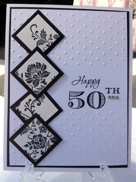Handmade 50th Anniversary Cards - and 50th birthday handmade card black