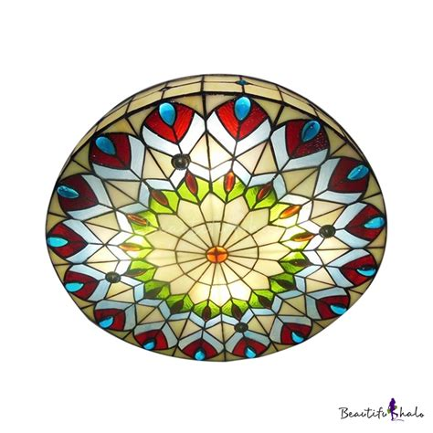 stained glass flush mount ceiling light 16 inch shade peacock stained glass 3 light