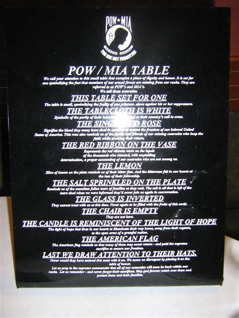 Missing Man Table Script Pow Mia Table Pow Mia Table We Call Your Attention To