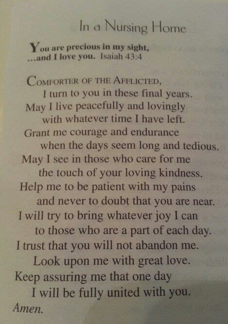 prayer for nursing home residents dementia care quotes