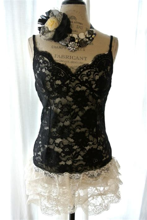 Lace Back Camisole Top black lace tank top shabby ruffle camisole cottage chic