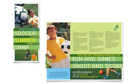 sports brochure templates free soccer sports c brochure template design