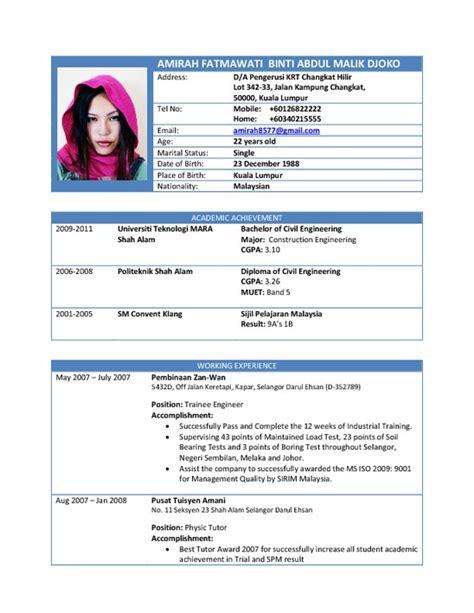 resume format 2015 malaysia cv 2015