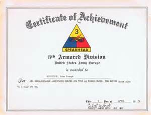 army certificate of achievement template certificate of achievement 3rd armored division u s army
