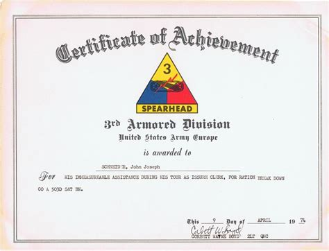 certificate of achievement template army certificate of achievement 3rd armored division u s army
