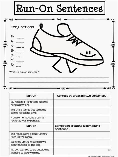 Run On Sentence Worksheet Answers by Rockin Resources Writing Mini Lesson 4 Run On Sentences