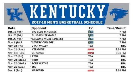 printable uk basketball schedule 2017 kentucky wildcats basketball full 2017 18 schedule