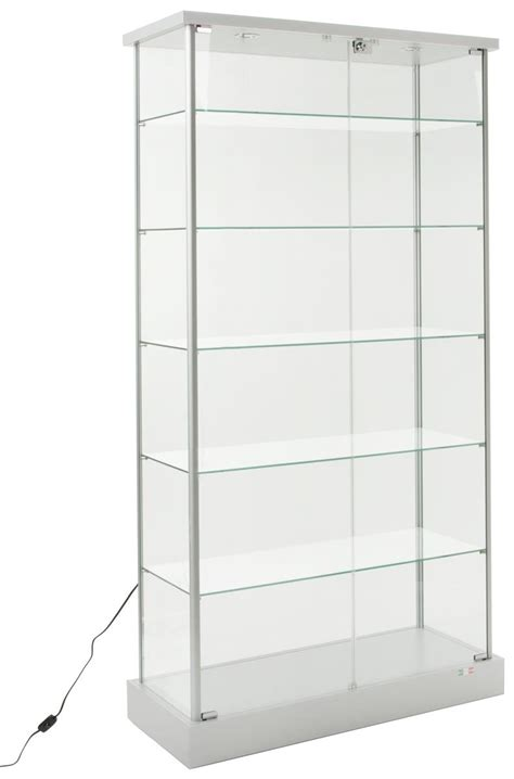 glass display cabinet 4 casters 2 led lights