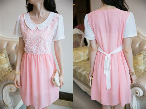 Kp 15 3 Pink Brokat Dress mini dress korea sifon bunga model terbaru jual murah