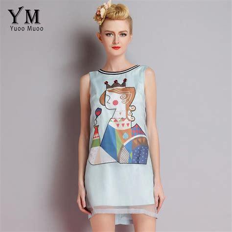 Dress Wanita Summer Eurpean Style Size M Blue Limited yuoomuoo european style 2016 summer brand design clothing blue dress for