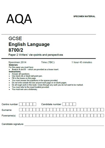 aqa gcse english language new aqa english language paper 2 writers viewpoints perspectives full scheme by uk