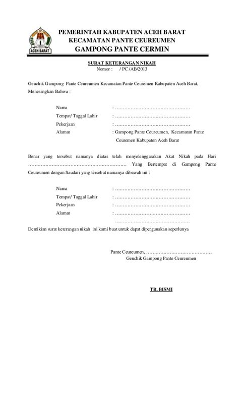 contoh surat keterangan nikah siri doc 28 images contoh surat nikah