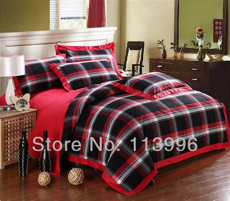 red and black plaid bedding black red yarn dyed simple plaid cotton comforter bedding