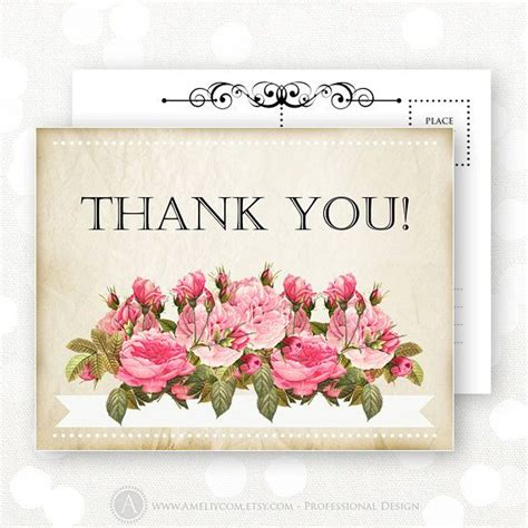 vintage thank you card printable thank you card instant download retro rustic