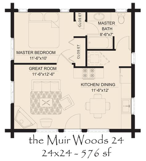 24x24 floor plans muir woods 24 log home floor plan jpg 600 215 665 pixels