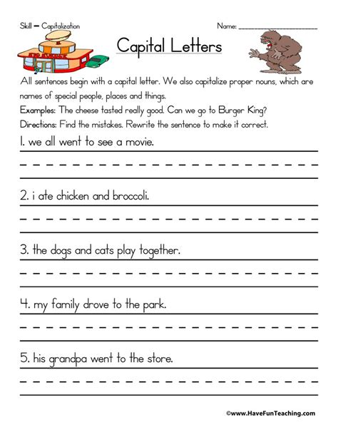 capitalization worksheet have fun teaching
