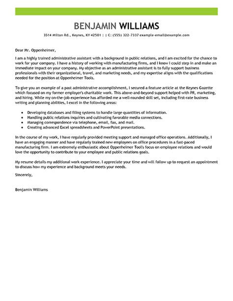 cover letter for admin application resume exles templates write administrative assistant