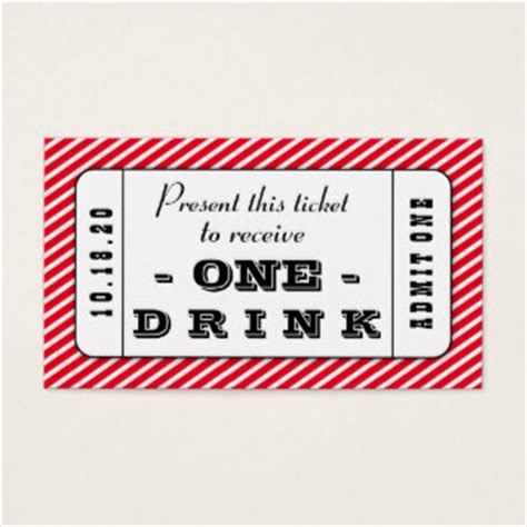 Drink Coupon Business Cards Templates Zazzle Drink Ticket Template