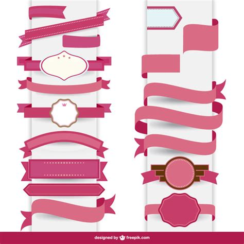 ribbon template ribbon pink decorative template vector free