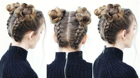 upside down braid into braided space buns braided