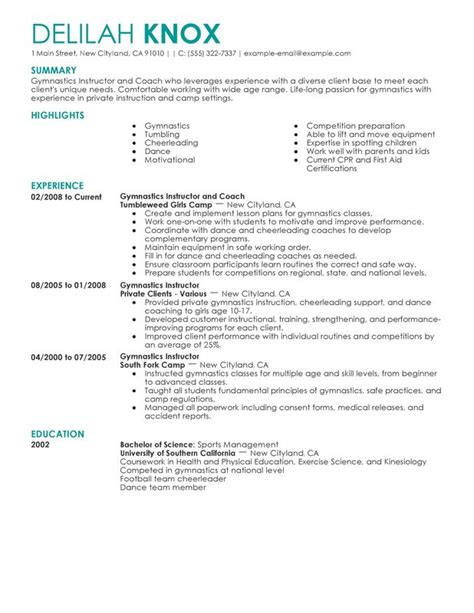 Resume Objective For Kinesiology Unforgettable Gymnastics Instructor Resume Exles To Stand Out Myperfectresume