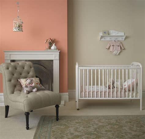 beautiful nursery baby bedroom painted in crown matt emulsion in honey fever and antique