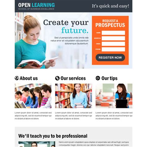 education templates for pages education responsive landing page design templates for