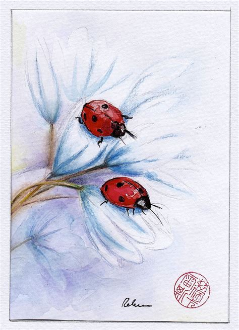companions ladybugs original watercolor painting by beccasplace