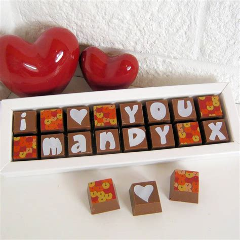 chocolate box with i love you and name by chocolate by