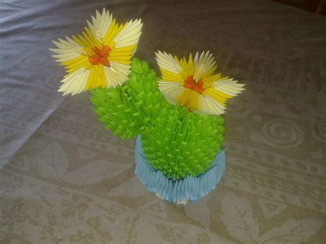 3d origami cactus tutorial 3d origami blooming cactus by thegenov on deviantart