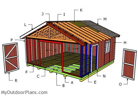 20 X 20 Shed Plans by 20x20 Gable Shed Roof Plans Myoutdoorplans Free