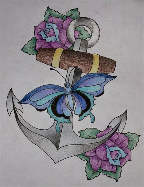 anchor flower tattoo colorful anchor flowers